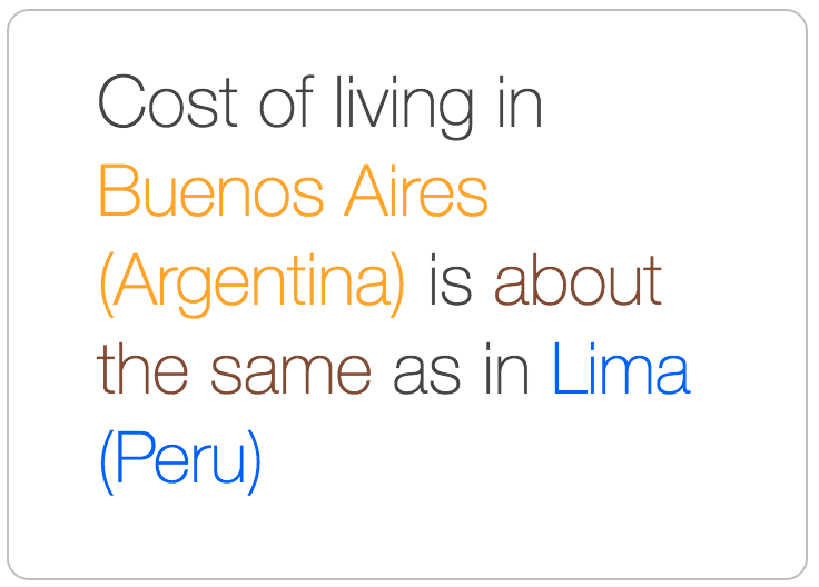 Buenos Aires costs about the same as Lima