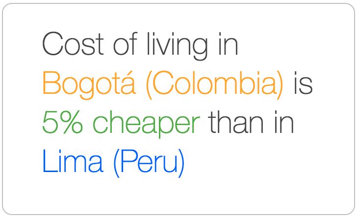 Bogota is cheaper than Lima