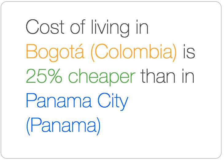 Bogota is cheaper than Panama City