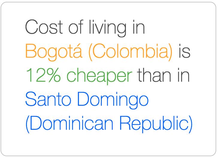 Bogota is cheaper than Santo Domingo