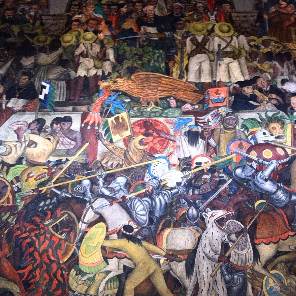Diego Rivera mural in the Palacio Nacional. A brilliant artist. The mural tells the history of Mexico from the time of conquest.